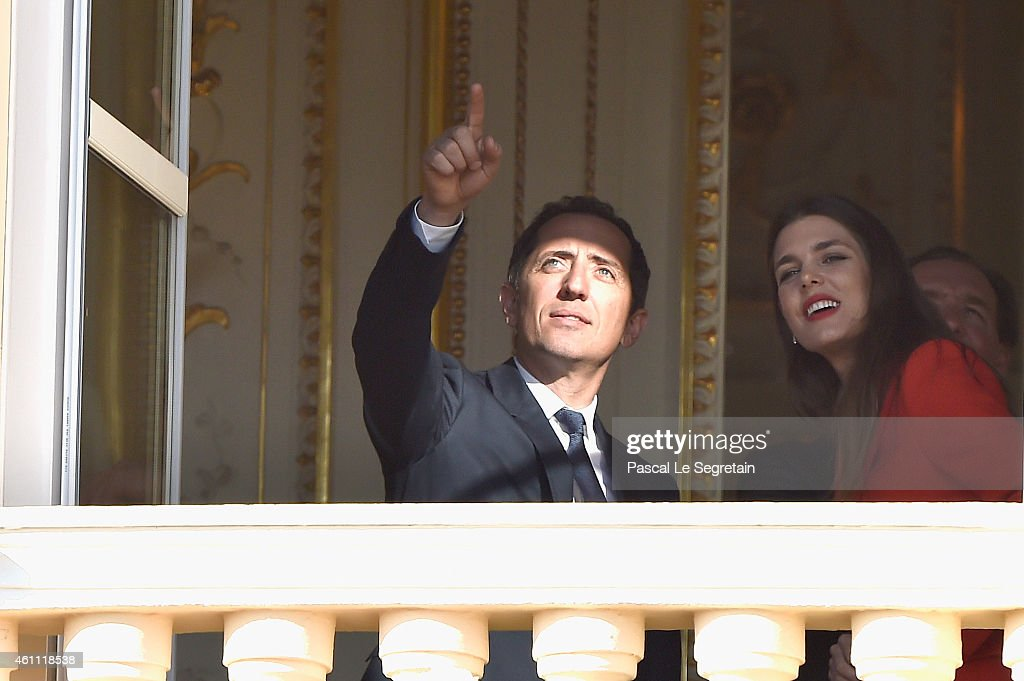 Gad Elmaleh and Charlotte Casiraghi attend the official presentation of the Monaco Twins on January 7, 2015 in Monaco, Monaco.