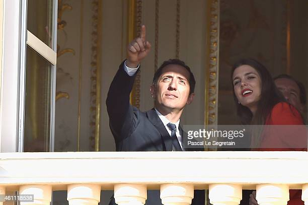 Gad Elmaleh and Charlotte Casiraghi attend the official presentation of the Monaco Twins on January 7 2015 in Monaco Monaco