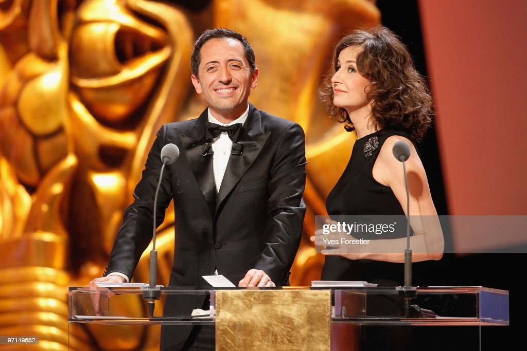 Gad Elmaleh and Valerie Lemercier perform onstage during the 35th Cesar Film Awards held at Theatre du Chatelet on February 27 2010 in Paris France
