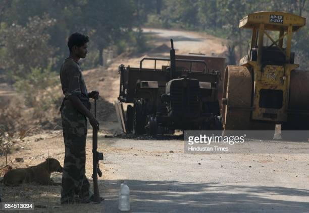 Gadchiroli Naxalism Naxals Naxalite C60 commandoes unit formed specially to tackle the naxal menace on guard the spot where three vehicles that was...