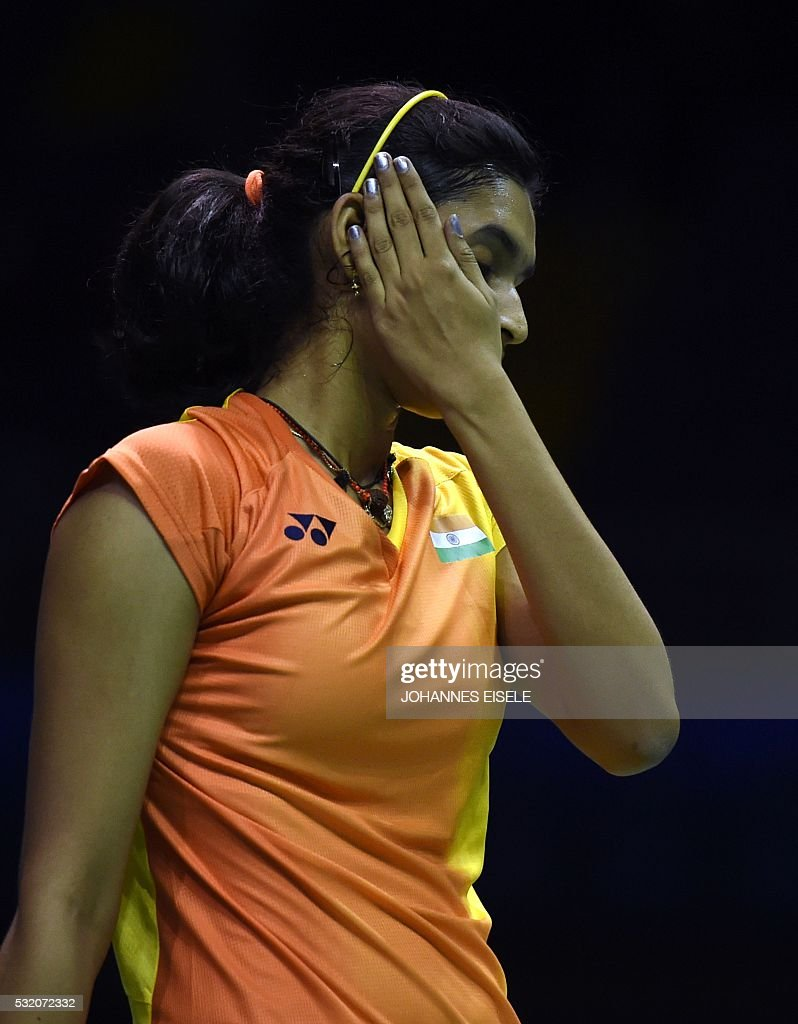 Gadde Ruthvika Shivani of India reacts after a missed point
