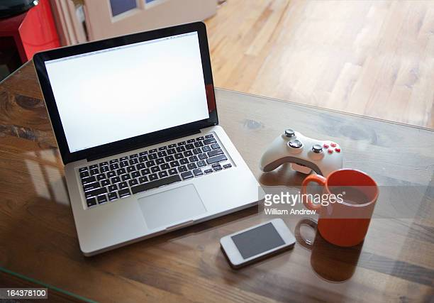 Gadgets on living room table