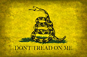 The Gadsden, Don't Tread On Me Flag with distressed grungy vintage treatment