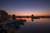 View of beautiful Gadsisar Sagar lake in Jaisalmer India (before sunrise)