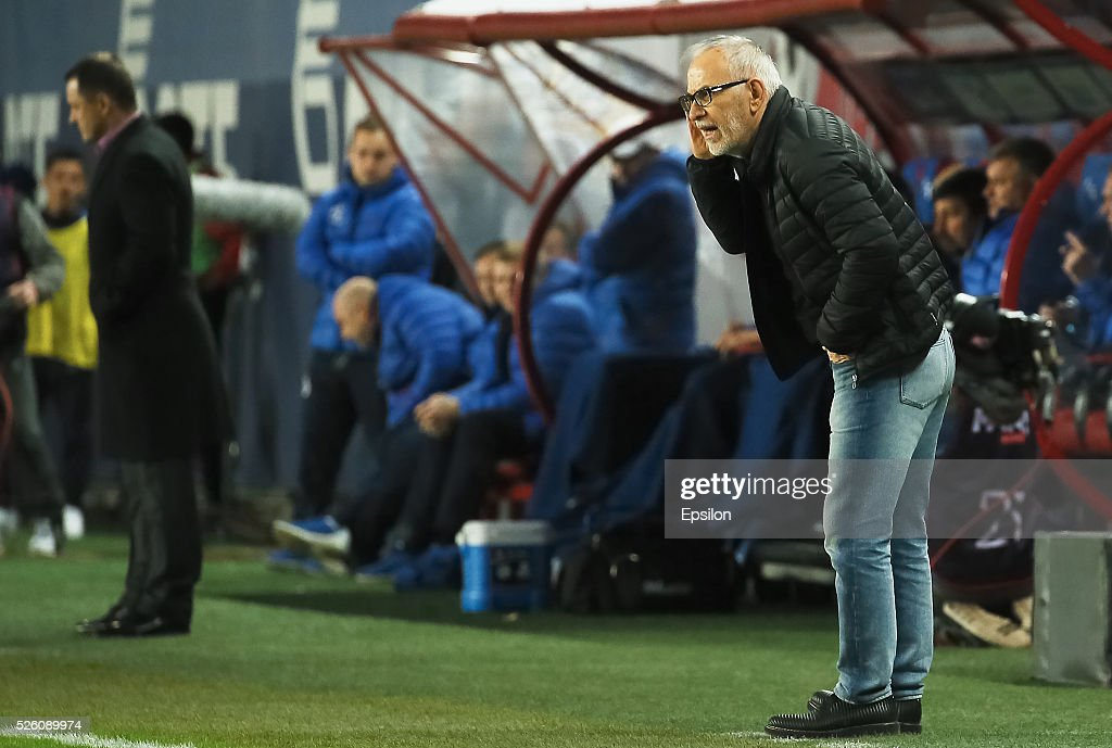 Gadzhi Gadzhiev, head coach of FC Amkar Perm vie for the ball during the Russian Football League match between FC Dinamo Moscow and FC Amkar Permon April 29, 2016 in Moscow, Russia.