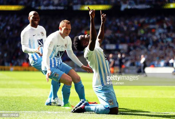 Gael Bigirimana of Coventry City celebrates scoring the opening goal at Wembley Stadium on April 2 2017 in London England