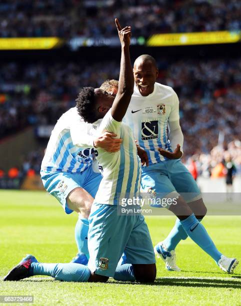 Gael Bigirimana of Coventry City celebrates with team mates after scoring during the EFL Checkatrade Trophy Final between Coventry City v Oxford...