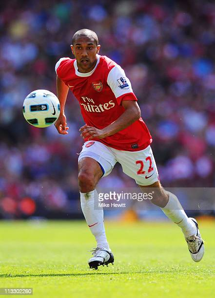 Gael Clichy of Arsenal in action during the Barclays Premier League match between Arsenal and Manchester United at the Emirates Stadium on May 1 2011...