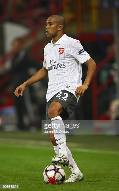 Gael Clichy of Arsenal runs with the ball during the UEFA Champions League Group H match between Standard Liege and Arsenal at the Sclessin Stadium...