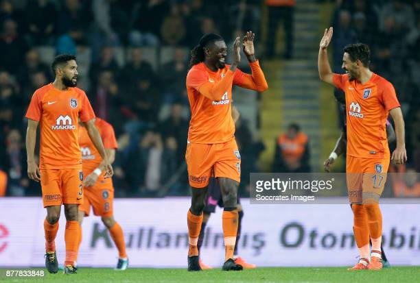 Gael Clichy of Istanbul Basaksehir Emmanuel Adebayor of Istanbul Basaksehir Irfan Can Kahveci of Istanbul Basaksehir during the Turkish Super lig...