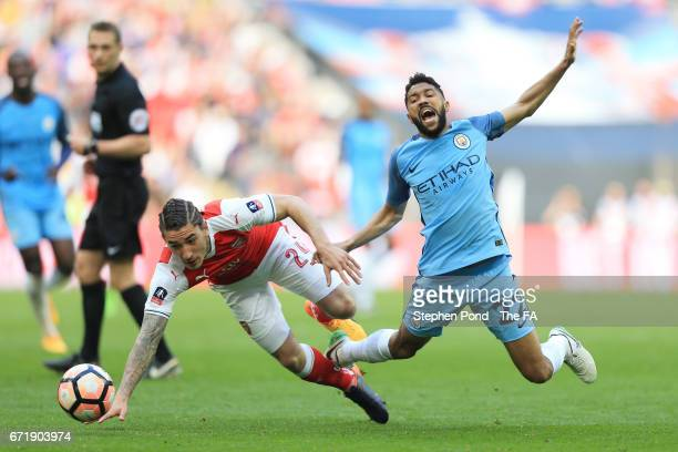 Gael Clichy of Manchester City and Hector Bellerin of Arsenal compete for the ball during the Emirates FA Cup SemiFinal match between Arsenal and...
