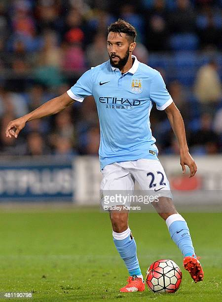 Gael Clichy of Manchester City controls the ball during the international friendly match between Melbourne City and Manchester City at Cbus Super...