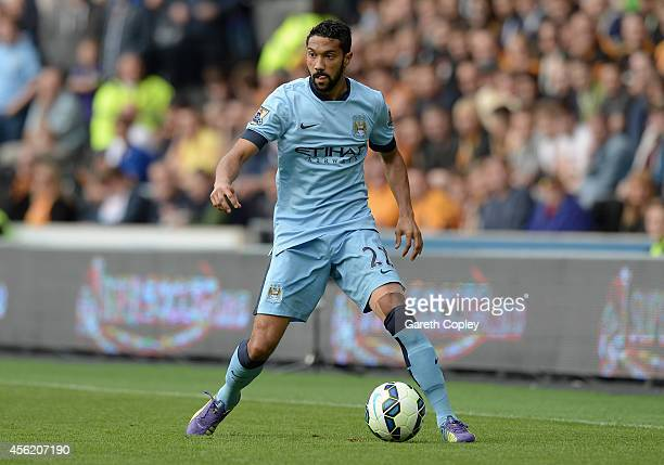 Gael Clichy of Manchester City during the Barclays Premier League match between Hull City and Manchester City at KC Stadium on September 27 2014 in...