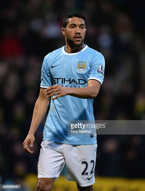 Gael Clichy of Manchester City during the Barclays Premier League match between Norwich City and Manchester City at Carrow Road on February 8 2014 in...