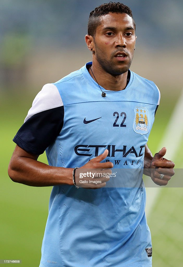 Gael Clichy of Manchester City during the Manchester City training session at Moses Mabhida Stadium on July 17, 2013 in Durban, South Africa.