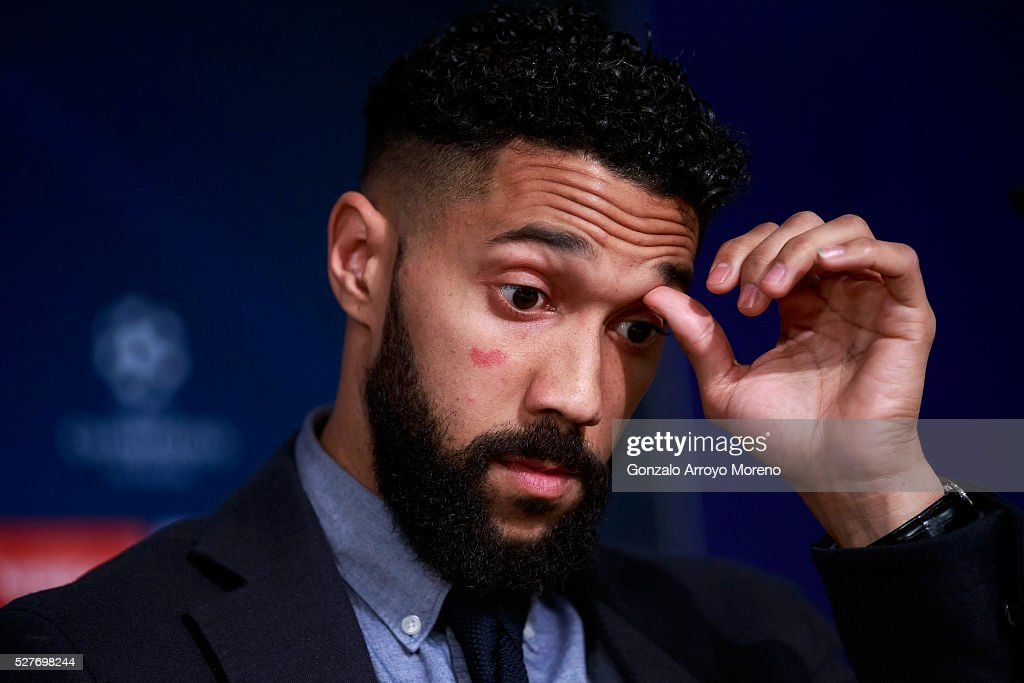 Gael Clichy of Manchester City faces the media during a press conference ahead of the UEFA Champions League Semi Final second leg match between Real Madrid and Manchester City FC at Estadio Santiago Bernabeu on May 3, 2016 in Madrid, Spain.