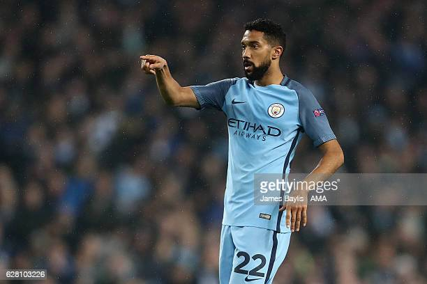 Gael Clichy of Manchester City gestures during the UEFA Champions League match between Manchester City FC and Celtic FC at Etihad Stadium on December...