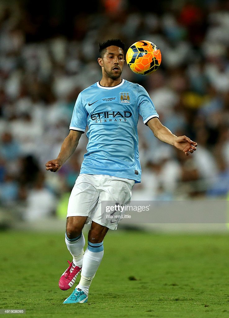 Gael Clichy of Manchester City in action during the friendly match between Al Ain and Manchester City at Hazza bin Zayed Stadium on May 15, 2014 in Al Ain, United Arab Emirates.