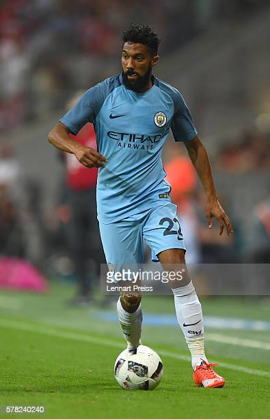 Gael Clichy of Manchester City in action during the pre season friendly match between FC Bayern Muenchen and Manchester City FC at Allianz Arena on...