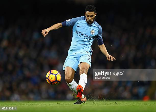 Gael Clichy of Manchester City in action during the Premier League match between Manchester City and Tottenham Hotspur at Etihad Stadium on January...