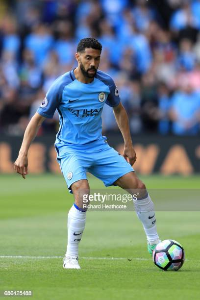 Gael Clichy of Manchester City in action during the Premier League match between Watford and Manchester City at Vicarage Road on May 21 2017 in...