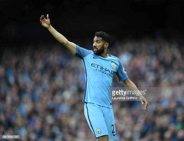 Gael Clichy of Manchester City looks no during the Premier League match between Manchester City and Leicester City at Etihad Stadium on May 13 2017...