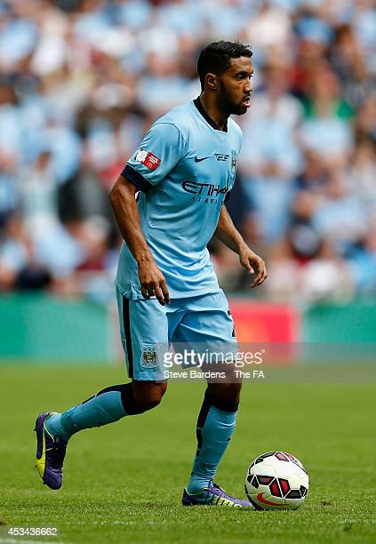 Gael Clichy of Manchester City on the ball during the FA Community Shield match between Manchester City and Arsenal at Wembley Stadium on August 10...