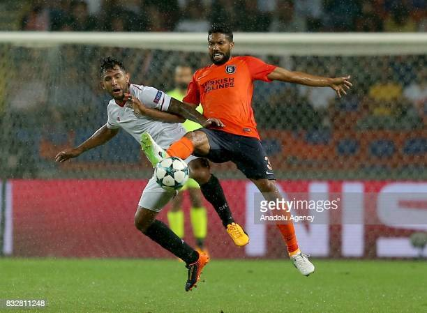 Gael Clichy of Medipol Basaksehir in action against Walter Montoya of Sevilla FC during the UEFA Champions League playoff match between Medipol...