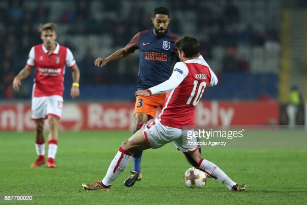 Gael Clichy of Medipol Basaksehir in action against Xadas of Braga during the UEFA Europa League Group C soccer match between Medipol Basaksehir and...