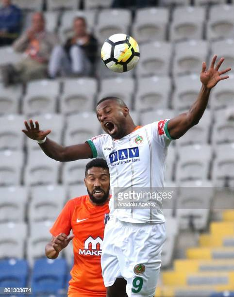 Gael Clichy of Medipol Basaksehir vies with Mbilla Etame of Aytemiz Alanyaspor during the Turkish Super Lig soccer match between Medipol Basaksehir...
