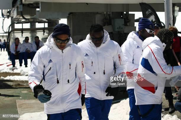 Gael CLICHY / Steve MANDANDA Retour du Glacier Stage de l'Equipe de France avant la Coupe du Monde 2010 Tignes France