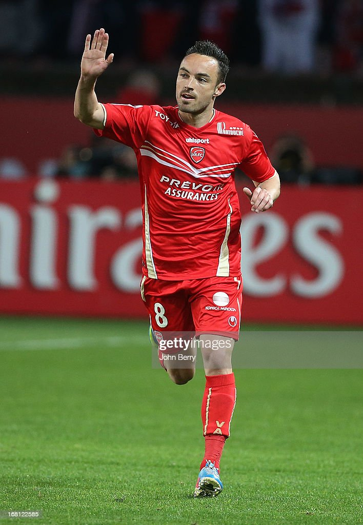Gael Danic of Valenciennes celebrates his goal during the Ligue 1 match between Paris Saint-Germain FC and Valenciennes FC at the Parc des Princes stadium on May 5, 2013 in Paris, France.