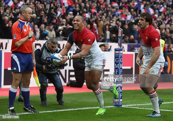 Gael Fickou of France dcelebrates after scoring his team's opening try during the RBS Six Nations match between France and Scotland at Stade de...