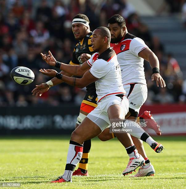 Gael Fickou of Toulouse passes the ball during the European Champions Cup match between Toulouse and Wasps at Stade Ernest Wallon on October 23 2016...