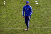 Gael Fickou practices during a France Rugby national team training session in Marcoussis on February 7 2014 in Paris France