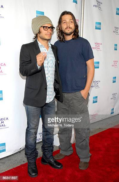 Gael Garcia Bernal and Diego Luna attend the premiere of 'Rudo Y Cursi' during the 8th Annual Tribeca Film Festival at the AMC Village VII on April...