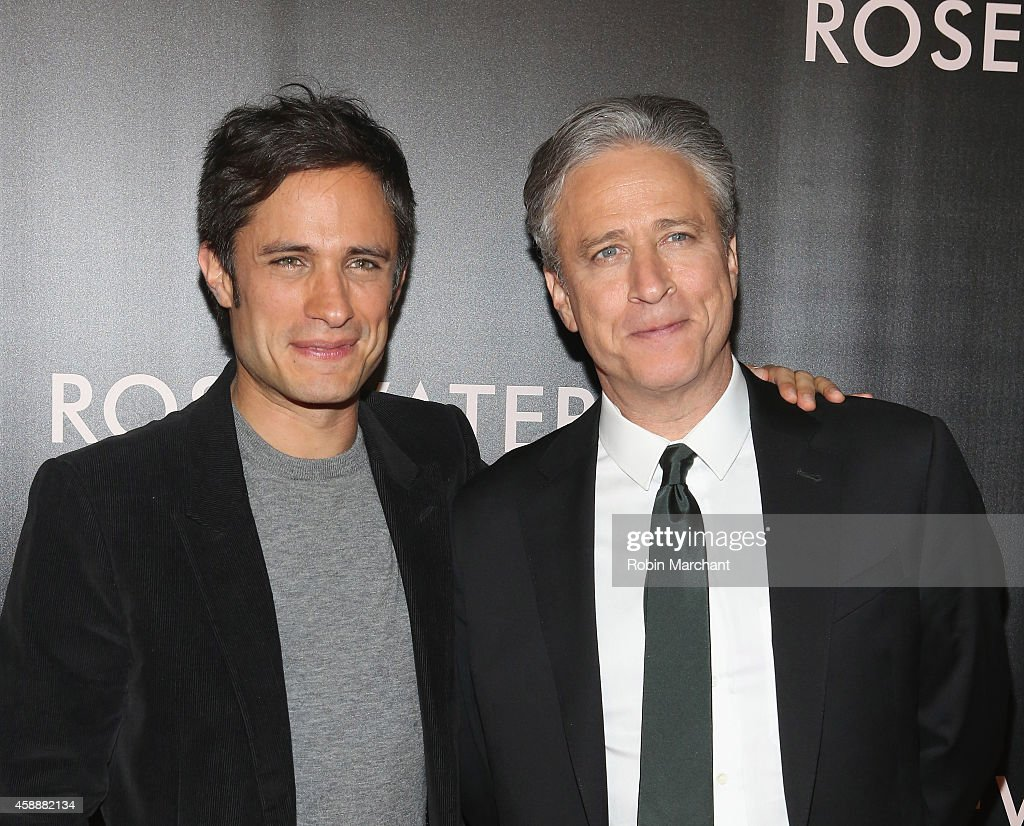 Gael Garcia Bernal (L) and Jon Stewart attend 'Rosewater' New York Premiere at AMC Lincoln Square Theater on November 12, 2014 in New York City.