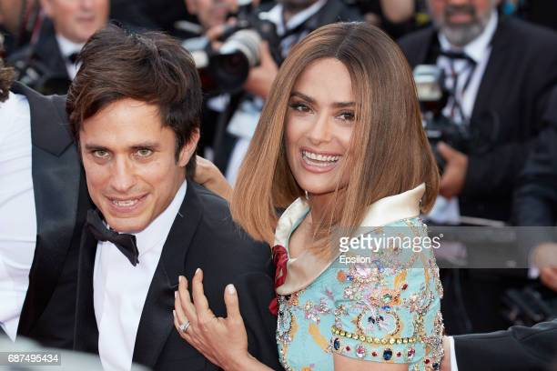 Gael Garcia Bernal and Salma Hayek attend the 70th Anniversary of the 70th annual Cannes Film Festival at Palais des Festivals on May 23 2017 in...