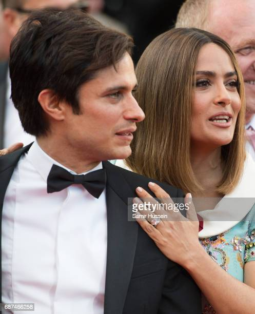 Gael Garcia Bernal and Salma Hayek attend the 70th Anniversary screening during the 70th annual Cannes Film Festival at Palais des Festivals on May...