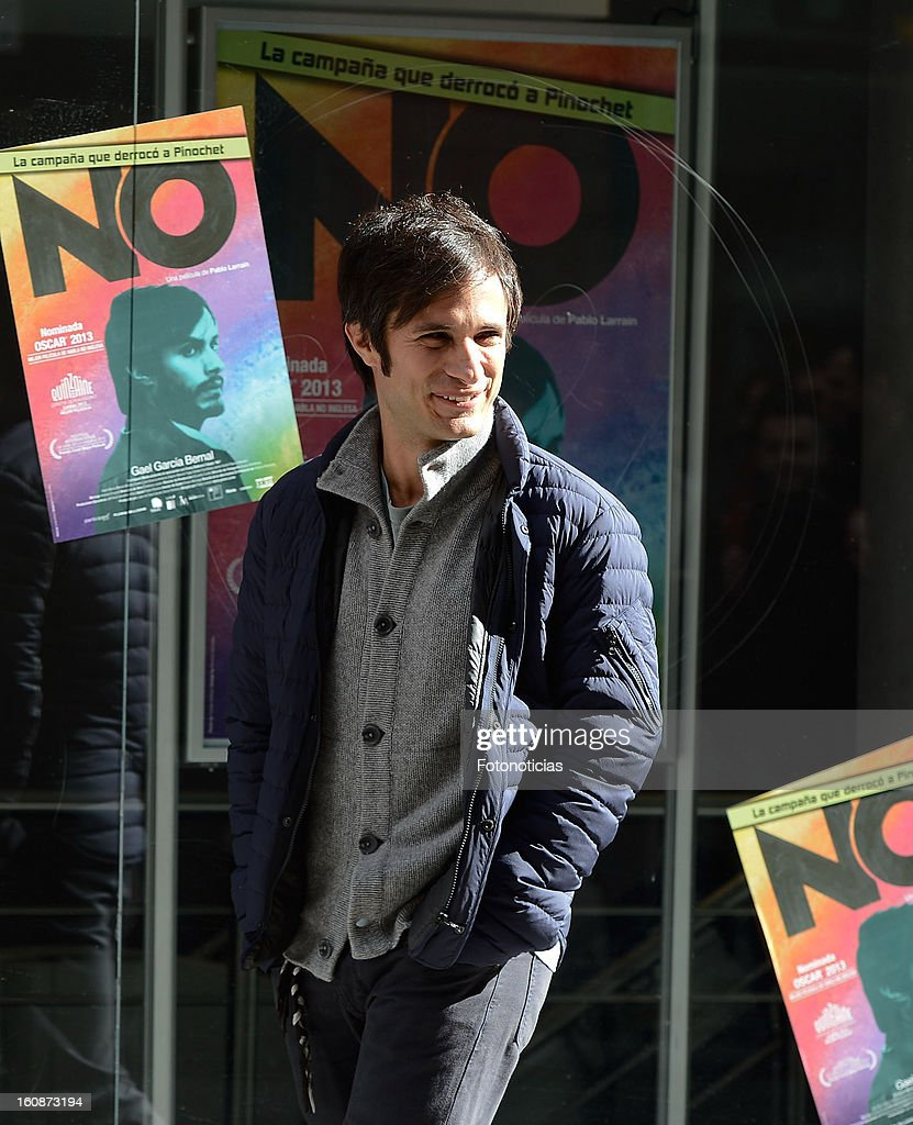<a gi-track='captionPersonalityLinkClicked' href=/galleries/search?phrase=Gael+Garcia+Bernal&family=editorial&specificpeople=202025 ng-click='$event.stopPropagation()'>Gael Garcia Bernal</a> attends a photocall for 'NO' at Golem Cinemas on February 7, 2013 in Madrid, Spain.