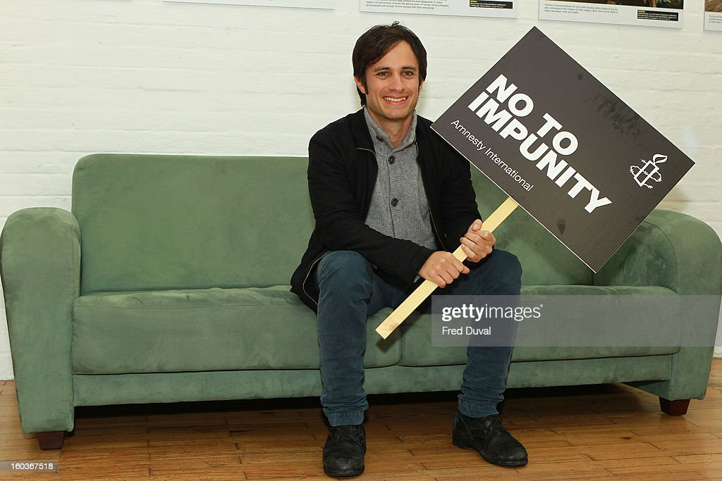 Gael Garcia Bernal attends a photocall to promote his Oscar nominated film 'No', which tells the story of Chilean dictator Augusto Pinochet at The Human Rights Action Centre on January 30, 2013 in London, England.