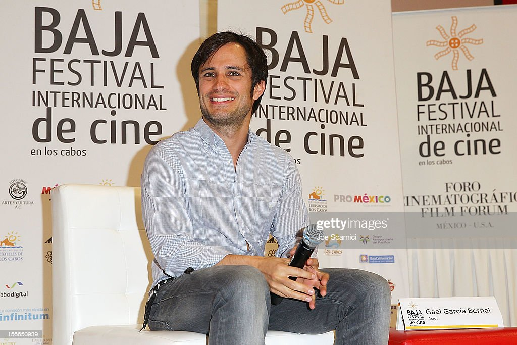 <a gi-track='captionPersonalityLinkClicked' href=/galleries/search?phrase=Gael+Garcia+Bernal&family=editorial&specificpeople=202025 ng-click='$event.stopPropagation()'>Gael Garcia Bernal</a> attends a press conference at the Baja International Film Festival at the Los Cabos Convention Center on November 17, 2012 in Cabo San Lucas, Mexico.