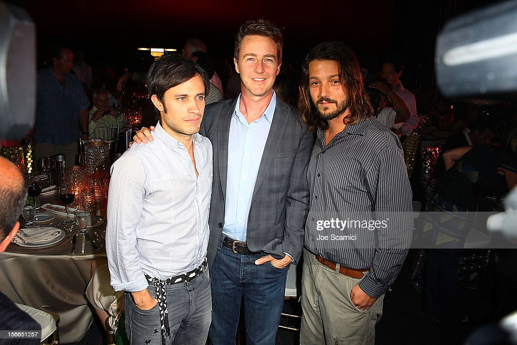 Gael Garcia Bernal, Edward Norton and Diego Luna attend the Closing Night Gala for the Baja International Film Festival at the Los Cabos Convention Center on November 17, 2012 in Cabo San Lucas, Mexico.