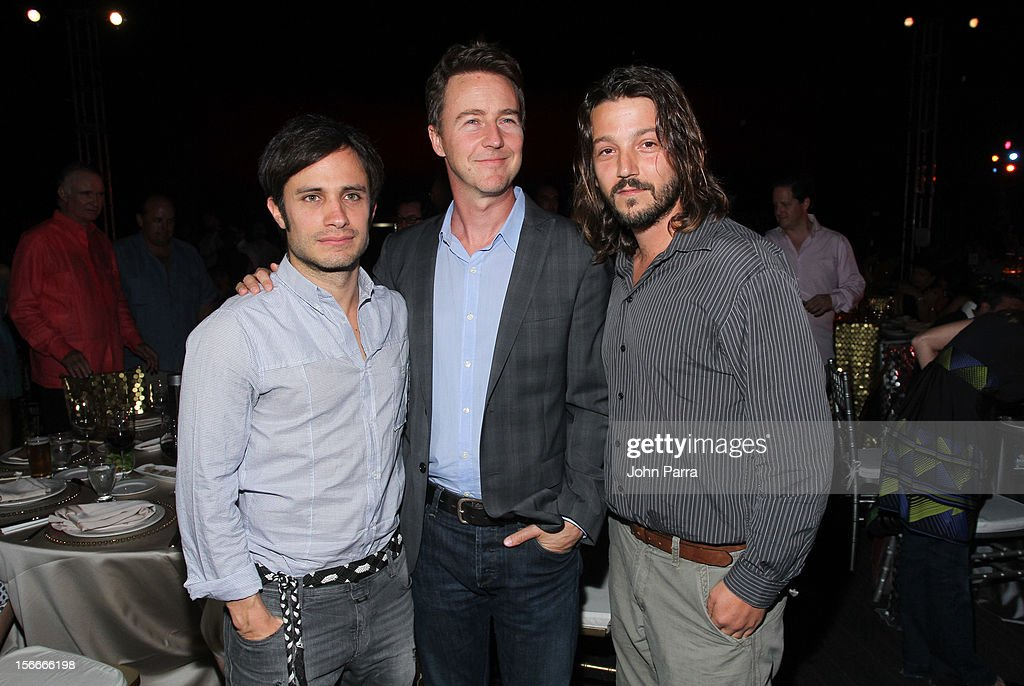 Gael Garcia Bernal, <a gi-track='captionPersonalityLinkClicked' href=/galleries/search?phrase=Edward+Norton&family=editorial&specificpeople=210580 ng-click='$event.stopPropagation()'>Edward Norton</a> and <a gi-track='captionPersonalityLinkClicked' href=/galleries/search?phrase=Diego+Luna&family=editorial&specificpeople=213511 ng-click='$event.stopPropagation()'>Diego Luna</a> attend the Closing Night Gala during the Baja International Film Festival at Los Cabos Convention Center on November 17, 2012 in Cabo San Lucas, Mexico.
