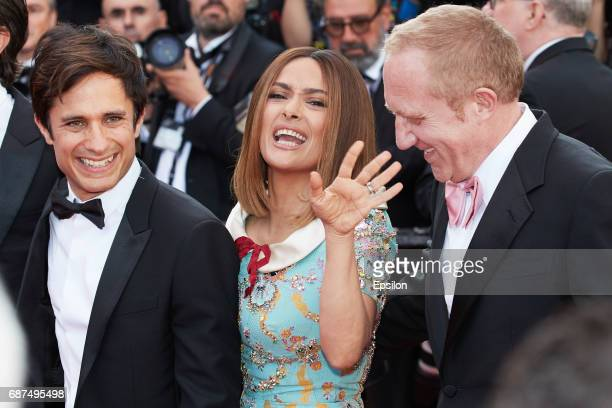 Gael Garcia Bernal Salma Hayek and FrancoisHenri Pinault attend the 70th Anniversary of the 70th annual Cannes Film Festival at Palais des Festivals...