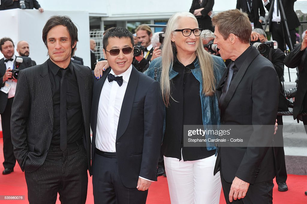 Gael Garcia, Zhangke Jia, Jane Campion and Willem Dafoe at the red carpet for the Palme D'Or winners during 67th Cannes Film Festival