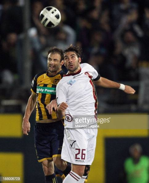Gael Genevier of Juve Stabia competes for the ball in air with Gianmario Comi of Reggina during the Serie B match between SS Juve Stabia and Reggina...