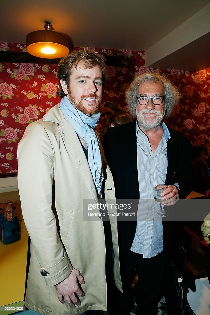 Gael Giraudeau and director Marc Esposito attend 'L'oiseau Bleu' at Theatre Hebertot on May 31, 2016 in Paris, France.