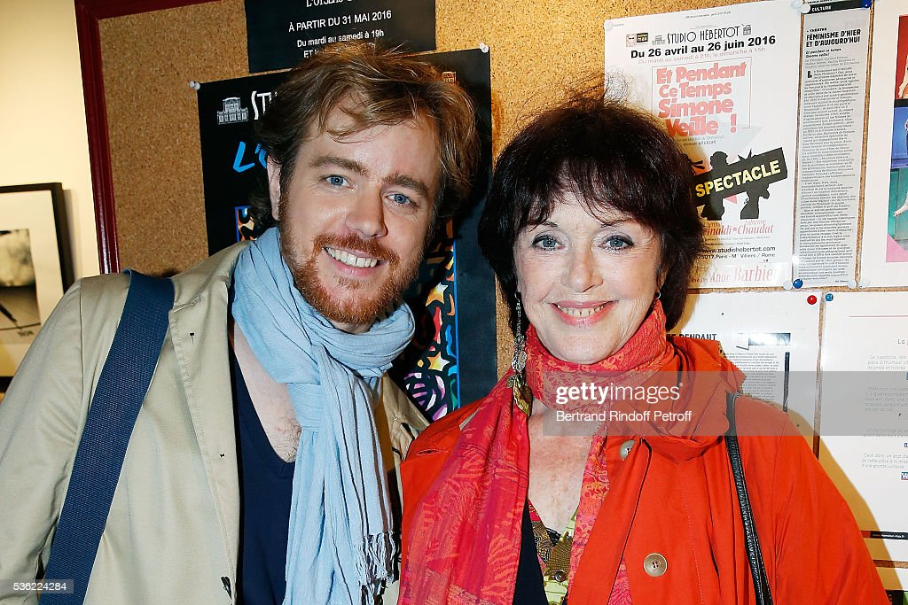 Gael Giraudeau and his mother Anny Duperey attend 'L'oiseau Bleu' at Theatre Hebertot on May 31, 2016 in Paris, France.