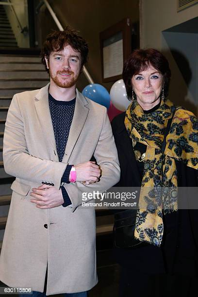 Gael Giraudeau and his mother Anny Duperey attend Michael Gregorio performs for his 10 years of Career at AccorHotels Arena on December 16 2016 in...